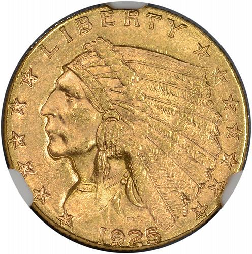 1925-D $2.50 Gold Indian Quarter Eagle NGC MS63 - ToughCOINS