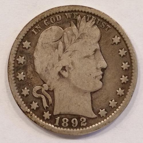 1892 Barber Quarter