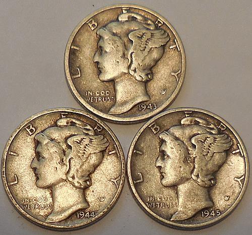 Mercury Dimes Three 1943 1944 & 1945