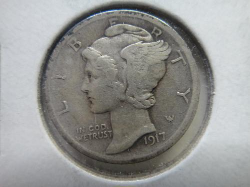 1917 Mercury Dime Extra Fine-45 Nice Medium Olive Tone on Reverse!