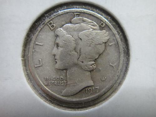 1917-S Mercury Dime Extra Fine-40 Traces of Luster at South Reverse Rim!