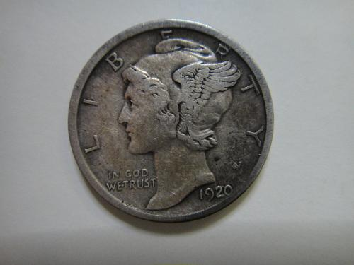 1920-D Mercury Dime Extra Fine-40 Sharp Defintion & Obvious Hints of Luster!