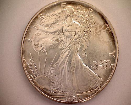 1990P AMERICAN SILVER EAGLE BULLION COIN