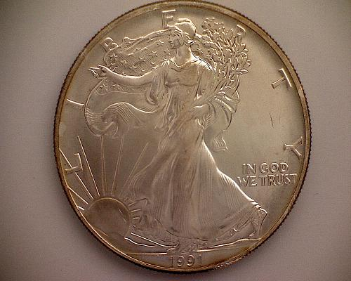 1991P AMERICAN SILVER EAGLE BULLION COIN