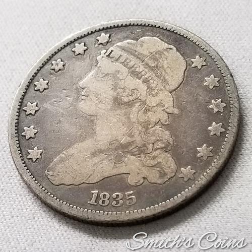 1835 Capped Bust Quarter ~ B-5 ~ Fine
