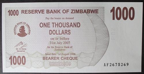 Zimbabwe P44 1000 Dollars UNC65