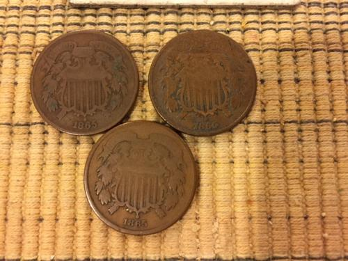 LOT OF 1864 & 65 TWO CENT COINS (4)
