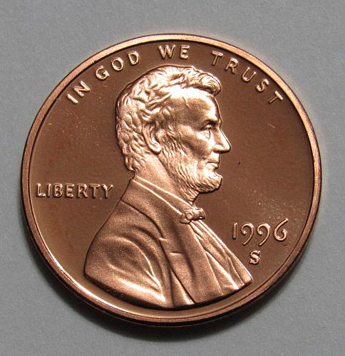 1996-S 1 Cent - Lincoln Memorial Cent