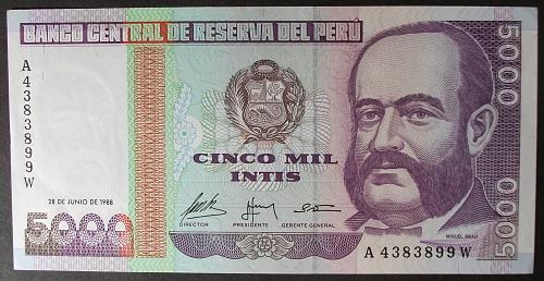 Peru P137 5000 Intis UNC63