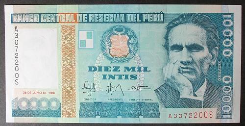 Peru P141 10,000 Intis UNC60