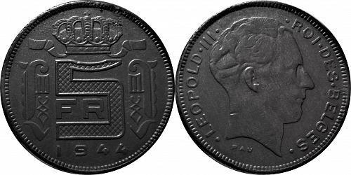 Belgium 1944 5 Francs -  Léopold III French text    Rare   #0025