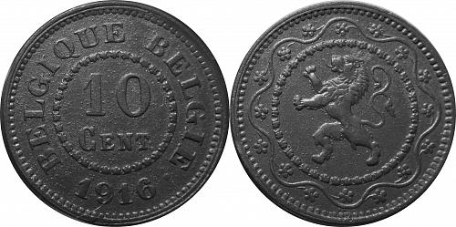 """Belgium 1916 10 Centimes – """"with dot after date only"""" - Rare   #0063"""