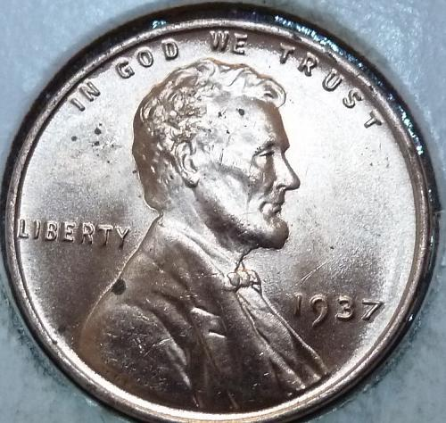 1937-P Gem BU RED Lincoln Wheat Cent (168 )