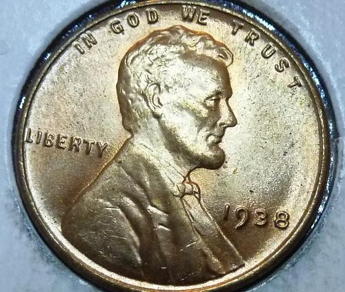 1938-P Gem BU RED Lincoln Wheat Cent (102)