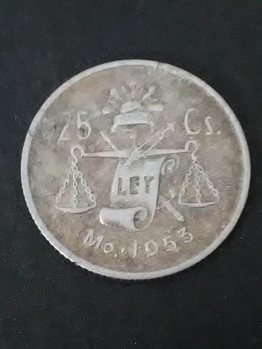 1953 25 Centavos Silver Good Condition Mexican Coin