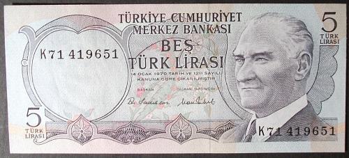Turkey P185 5 Lira UNC63