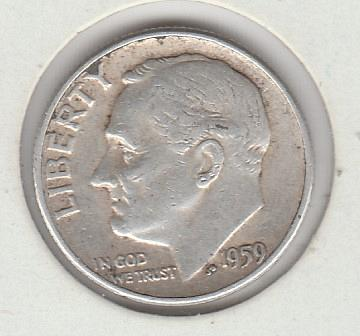 1959p Roosevelt Dime - #2