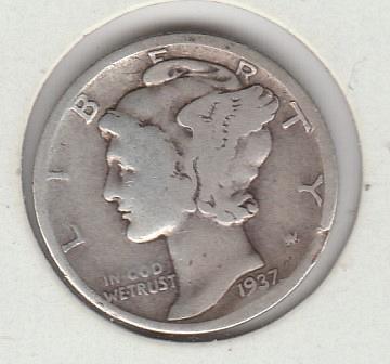 1937 S Mercury Dimes - #1