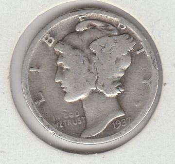 1937 P Mercury Dimes - #1