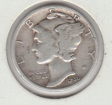 1936 p Mercury Dime - #3