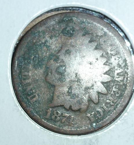 1874  Indian Cent AG Filler Coin  ( 40 )