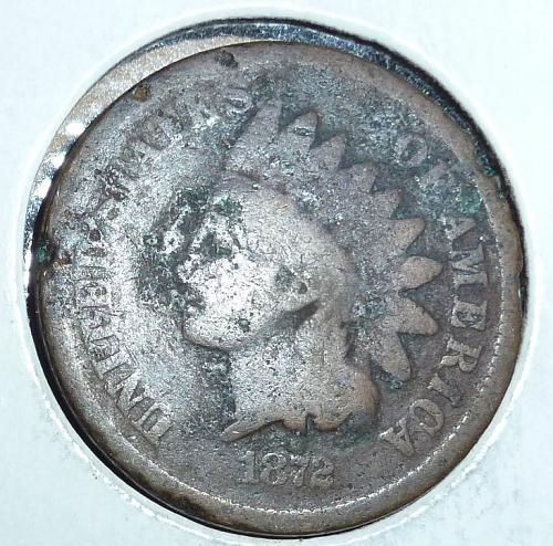 1872  Indian Cent AG Filler Coin  ( 44 )