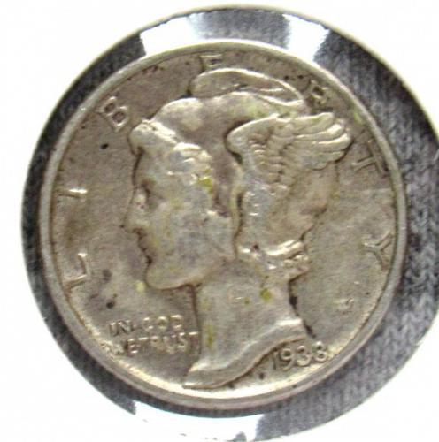 Set of three Mercury Dimes: 1938 P, 1936 S, 1942 S