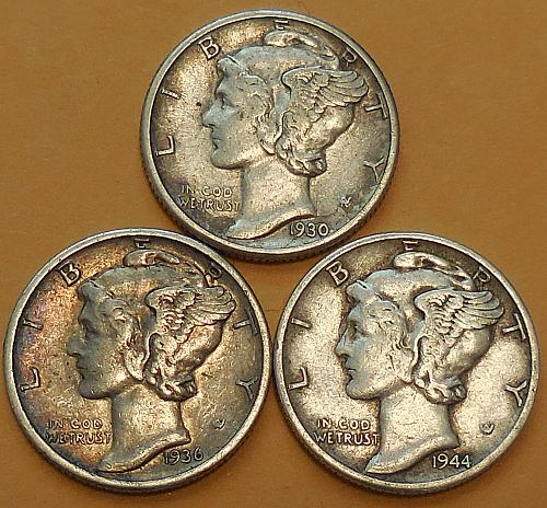 Three Mercury Dimes 1930-P 1936-S & 1944-P