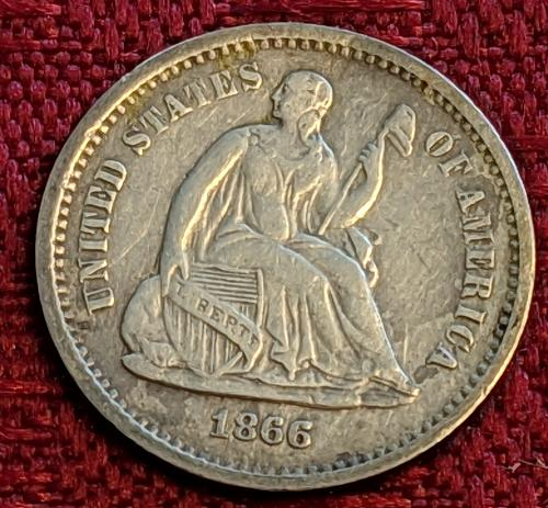 1866S VF/XF SEATED LIBERTY HALF DIME