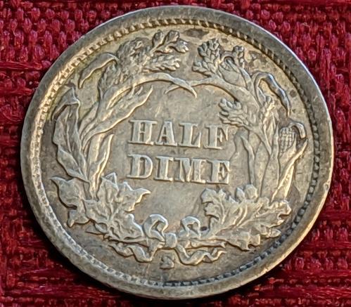 1866S VF/XF SEATED LIBERTY HALF DIME