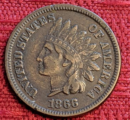 1866 XF DETAIL INDIAN HEAD CENT
