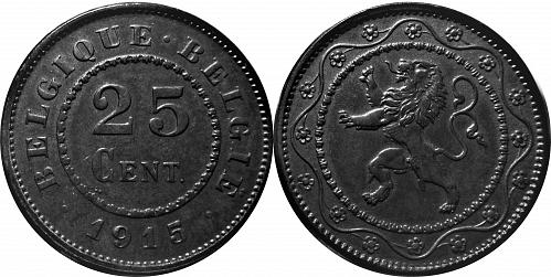 Belgium 1915 25 Centimes (Dot before and after)      0081