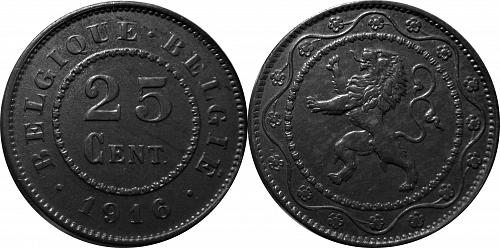 Belgium 1916 25 Centimes (Dot before and after)      0083