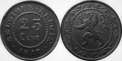 Belgium 1917 25 Centimes (Dot before and after)      0089