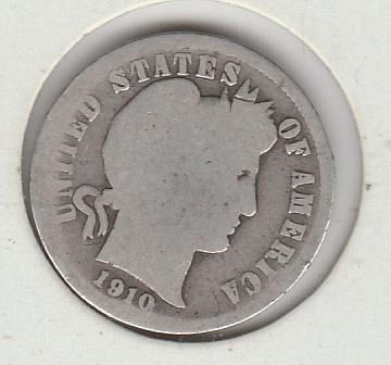 1910 P Barber Dimes