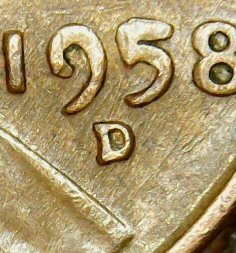 1958 D Wheat Cent with 'Date Over'