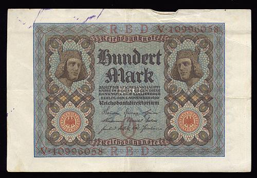 1920 GERMAN 100 MARK NOTE