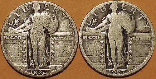 Two Standing Liberty Quarters 1926 & 1927