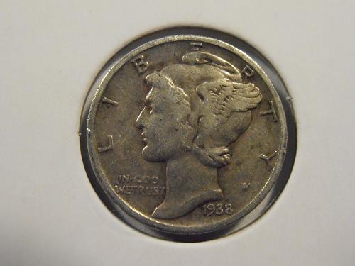 1938 P Mercury Silver Dime (38PM1)