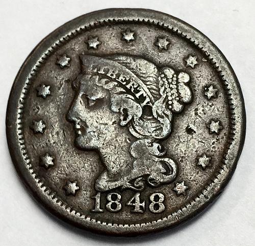 1848 Braided Hair Liberty Head Large Cent