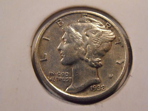 1938 S Mercury Silver Dime (38SH1)