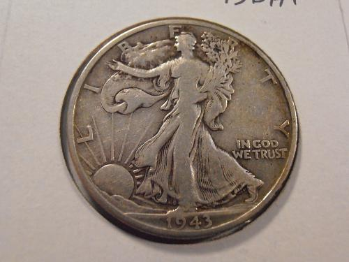1943 D Walking Liberty Silver Half Dollar, FREE SHIPPING (43DH1)
