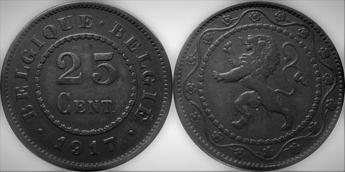 Belgium 1917 25 Centimes (Dot before and after)      0092