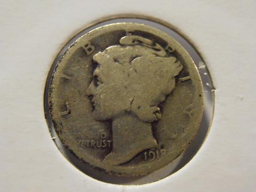 1918 P Mercury Silver Dime, (18PM2)