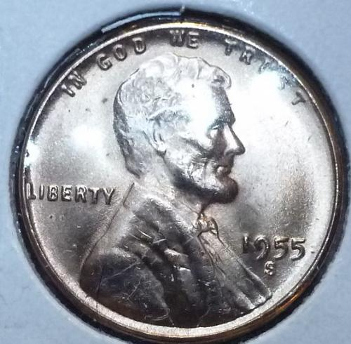 1955-S Gem BU RED Lincoln Wheat Cent (4017 )