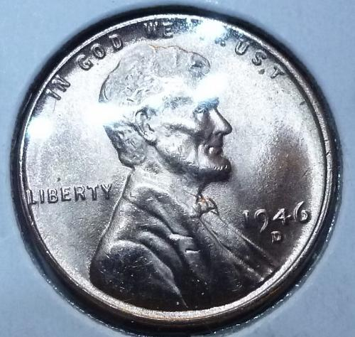 1946-D Gem BU RED Lincoln Wheat Cent (4005 )