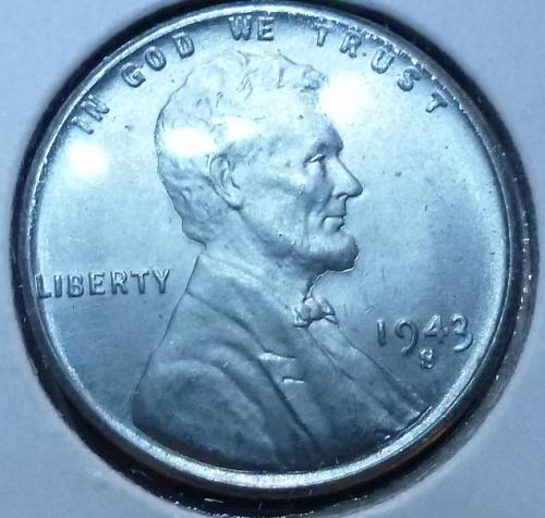 1943-S Gem BU white Lincoln Wheat Cent (4004 )