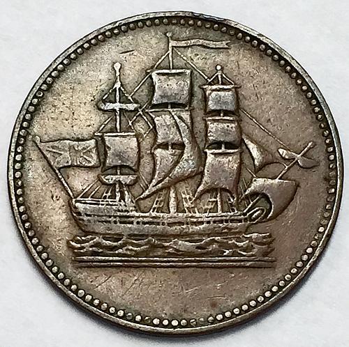 1835 Canada Half Penny Token - Ships, Colonies, Commerce