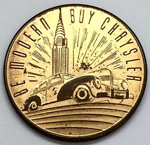 1924-1939 World's Fair Token - Be Modern Buy Chrysler