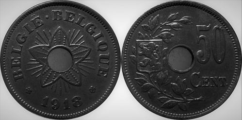 Belgium 1918 50 Centimes      0097